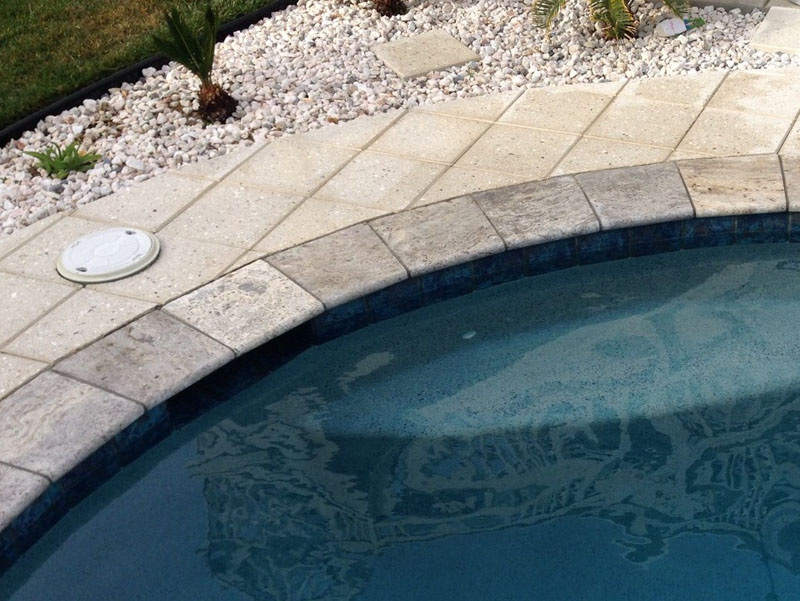 After: Silver Travertine Pool Coping