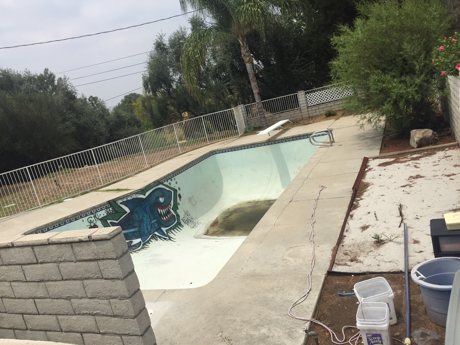 Before: Old Damaged Vandalized Pool In Disrepair